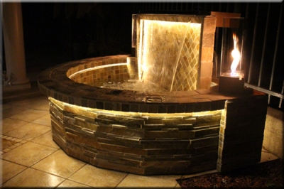 Portolo water feature with fire for Fire and water features