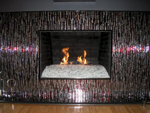 Fireplace Glass glass and ice on fire