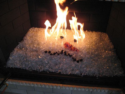 Fireplace Glass Fireglass Glass and Ice on Fire