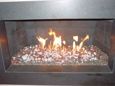 Aquatic Glassel Fireplace Design, Red Fireplace and Fire Pit glass