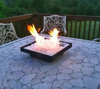 Portable natural gas outdoor Fire Pit safe for Fireglass